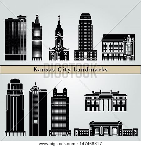 Kansas City landmarks and monuments isolated on blue background in editable vector file