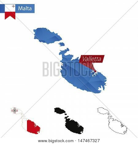 Malta Blue Low Poly Map With Capital Valletta.