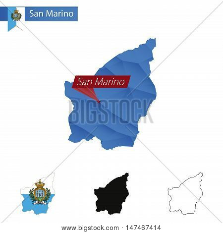 San Marino Blue Low Poly Map With Capital San Marino.