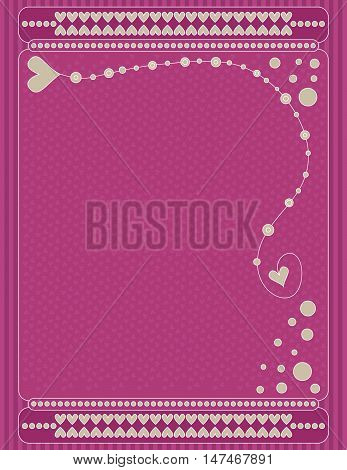 Romantic pink valentine background with hearts and dots