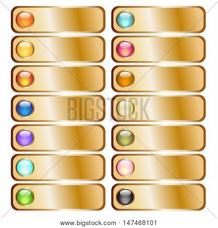 Golden button collection with colorful glossy spheres