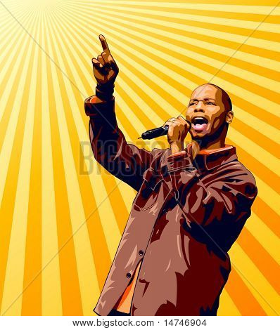 Singer with microphone raising hand over a sunburst background.