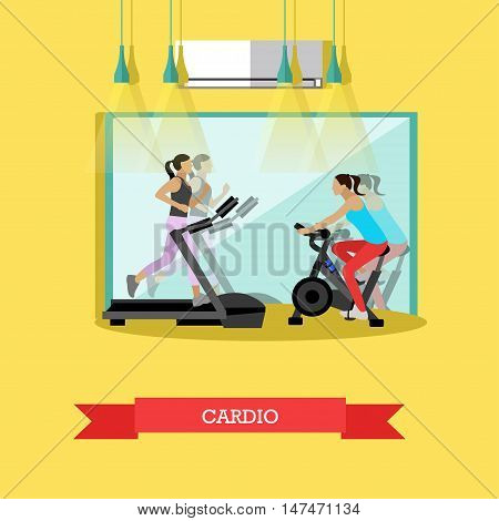 Young girls are working out cardio exercises in the gym, running on a treadmill, riding a stationary bike. Fitness studio with big mirror and sports equipment. Vector illustration in flat design