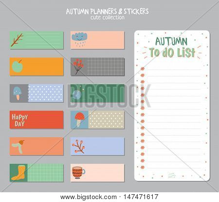 Cute Daily Calendar and To Do List Template. Note Paper and Stickers Set with Vector Autumn Illustrations. Good for Kids. Fun Background. Organizer and Schedule with place for Notes.