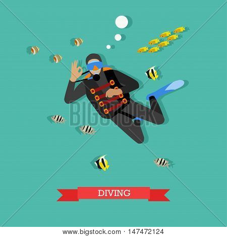 Scuba-diver under water with tropical fishes. Dive gear and equipment, scuba, mask, flippers and wetsuit. Underwater active recreation. Vector illustration in flat design poster