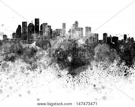 Houston Skyline In Black Watercolor On White Background