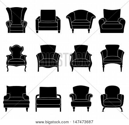 Set of silhouettes of armchairs isolated on white background. Vector illustration. Different chairs icons.