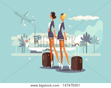 Beautiful flight attendants on airstrip waiting plane. Vector flat illustration