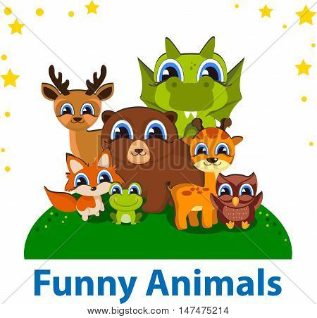 Funny Animals Editable vector template. Ideal for kids, for web, card, banner, poster, bookmark notepad