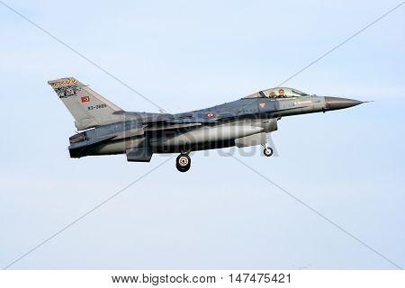 VOLKEL NETHERLANDS - OCT 4 2010: Turkish Air Force F-16 fighter jet landing on Volkel airbase.