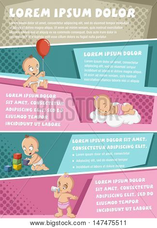Vector brochure backgrounds with cartoon baby wearing diaper. Cute toddler. Infographic template design.