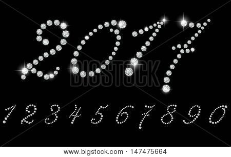Number set with realistic diamond, vector illustration. can be used for christmas , happy new year 2017, happy birthday and more.