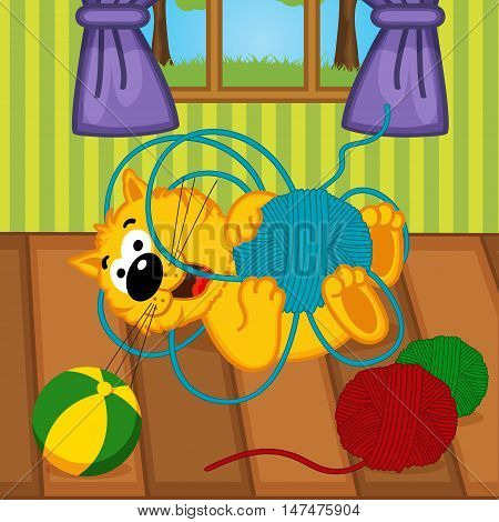 cat playing with ball of yarn in room - vector illustration, eps