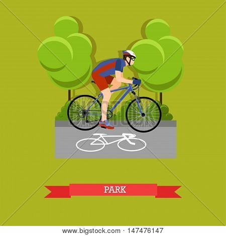 Vector illustration of cyclist riding on bike in the park. Sports equipment, helmet, gloves, glasses, sneakers and bicycle. City landscape. Flat design