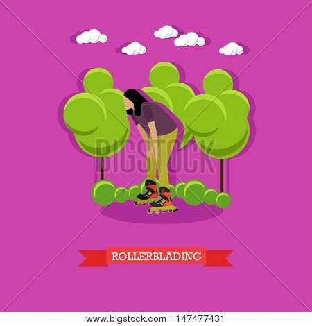Young woman rollerblading in the park. Rollerblade skater stopped to rest. Extreme sport, active lifestyle. Flat design vector illustration