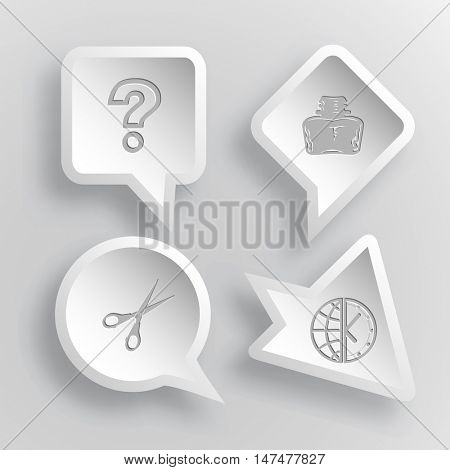4 images: query sign, inkstand, scissors, globe and clock. Education set. Paper stickers. Vector illustration icons.