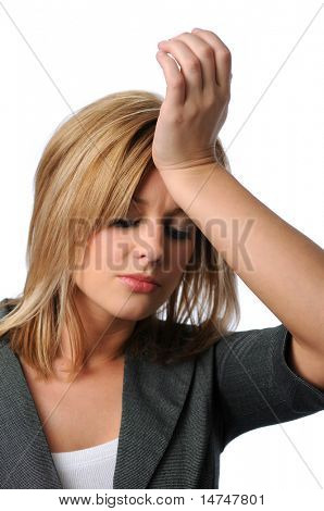Young business woman showing stress isolated over a white background