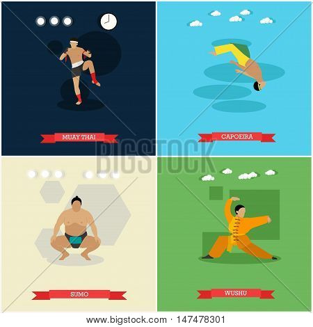 Vector set of martial arts. Sumo, capoeira, muay thai and wushu. National combat sports of Japan, Brazil, Thailand and China. Flat design