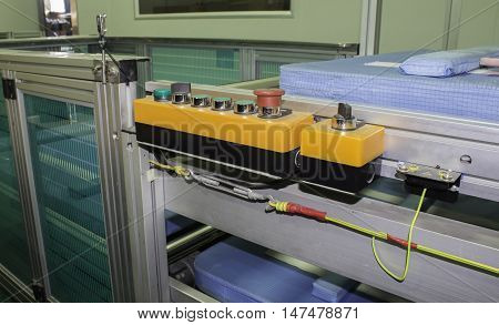 switch control panel with many bottom in conveyor line manufacturing