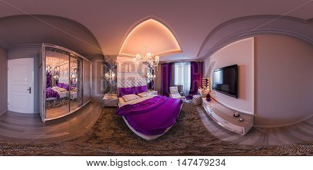 3d illustration spherical 360 degrees seamless panorama of bedroom interior design. The bedroom is made in white and purple tones in a classic style