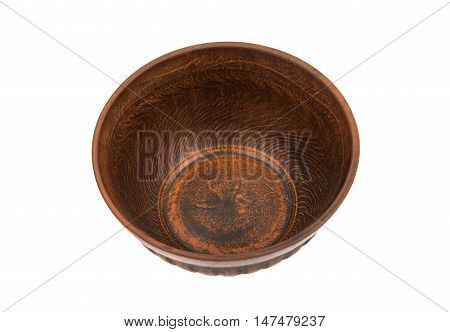 earthenware dish  flatware on a white background