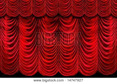 Stage red curtains