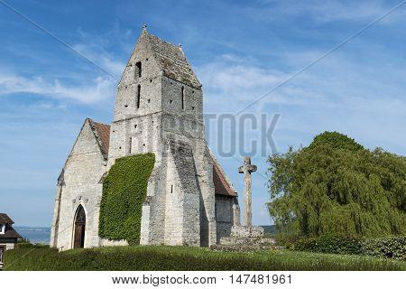 The medieval church l' Eglise St. Martin de Cricqueboeuf Calvados Normandy France