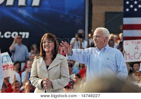 O'FALLON - AUGUST 31: Senator McCain and Saran Palin make their appearance at a rally in O'Fallon near St. Louis, MO on August 31, 2008