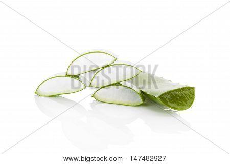 Aloe vera background. Aloe vera sliced leaf and aloe vera gel isolated on white background.