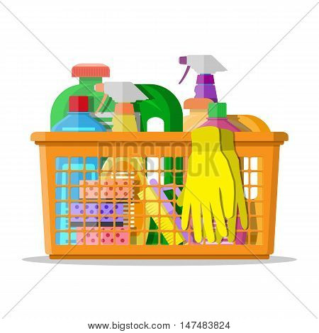 Cleaning set. household cleaning products and accessories in plastic basket. rubber gloves, detergent spay, sponge. vector illustration in flat design isolated on white