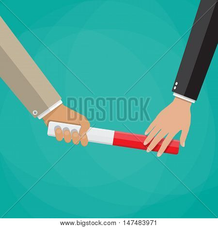 Businessman passes relay baton in hand of another businessman. cooperation, team work, transfer of business. vector illustration in flat style on green background