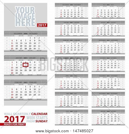 Wall quarterly calendar 2017. Week start from Sunday ready for print. Vector Illustration.