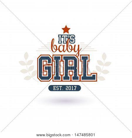 Varsity Style New Baby Girl 2017 Shower Isolated On White