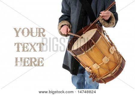 Drummer boy with copy space isolated over a white background