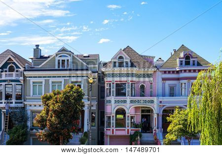 San Francisco USA - September 24 2015: The colored traditional houses of Alamo square