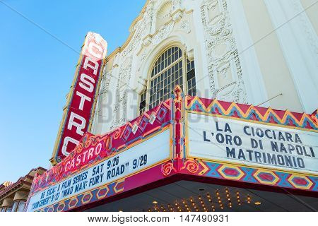San Francisco USA - September 26 2015: The luminous signs of the Castro theater in Castro street
