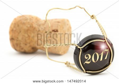 close up of champagne cork isolated on white background