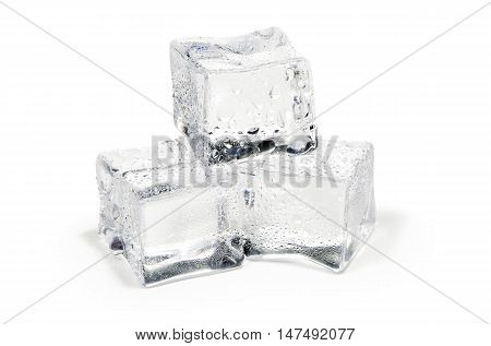 close up of three ice cubes isolated on white background