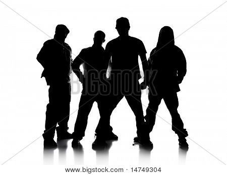 Silhouettes of men standing over a white background