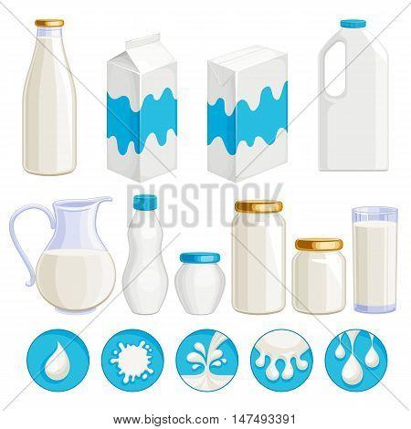 Milk dairy products icons set. Yogurt cream kefir milk in assorted containers - jug jar box plastic and glass. Milk drop symbols. Vector illustration.