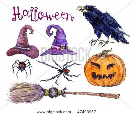 Hand Painted Watercolor Illustration Isolated: Set of witch's hats, pumpkin, spiders, crow, broom