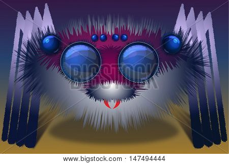 Image of the big hairy spider with big eyes