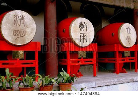 Xi'an China - September 6 2006: Bright red ceremonial drums line a terrace on the c. 1380 Ming Dynasty Drum Tower