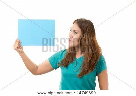 women holding blank card on white background