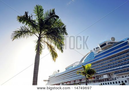 Palm Tree and cruise ship with sun shinning in background