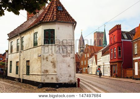 Old Buildings on a Street at Ribe Denmark