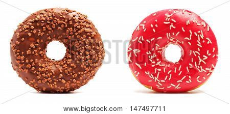 Brown Chocolate donut and pink donut with sprinkles on white background