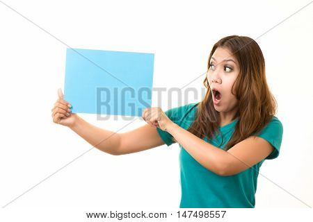 asian woman Holding a blank on white blackground