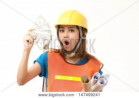 foremen woman holding money on white background