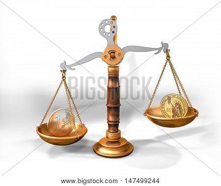 3d illustration of a scale with dollar and euro coins